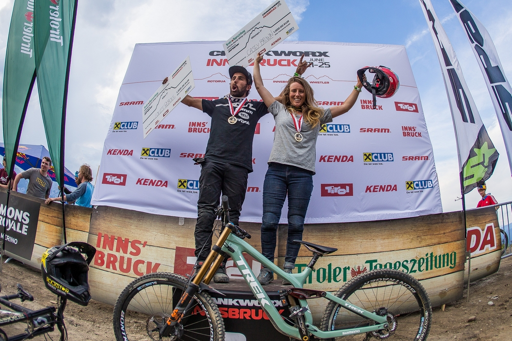 Crankworx Innsbruck 2017: French rider Lois Reboul joins undefeated Canadian whip specialist Casey Brown on the podium